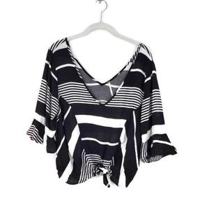 FREE PEOPLE Striped Bell Sleeve Double V Neck Top